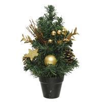 Mini Kunst Kerstbomen/kunstbomen Met Gouden Versiering 30 Cm - Miniboompjes/kleine Kerstboompjes