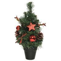 Mini Kunst Kerstbomen/kunstbomen Met Rode Versiering 30 Cm - Miniboompjes/kleine Kerstboompjes