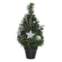 Mini Kunst Kerstbomen/kunstbomen Met Zilveren Versiering 30 Cm - Miniboompjes/kleine Kerstboompjes