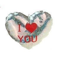 Pluche Glimmend Hart Zilver Met Tekst I Love You - Valentijnscadeaus
