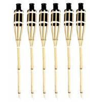 6x Stuks Bamboe Tuinfakkels Met Oliehouder Van 60 Cm - Tuinverlichting Decoratie Fakkels
