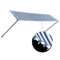 Vidaxl Luifel Uittrekbaar Met Led 400x150 Cm Blauw En Wit