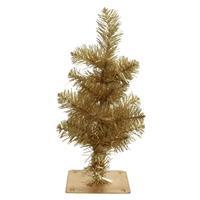 Gouden Kunst Kerstboom 35 Cm Met 28 Takjes En Metalen Voet - Miniboompjes / Kleine Kerstbomen
