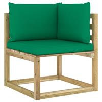 vidaXL Tuinhoekbank met kussens groen geïmpregneerd grenenhout