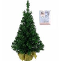 Decoris Volle Kerstboom In Jute Zak 60 Cm Inclusief Helder Witte Kerstverlichting