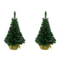 Decoris 2x Volle Mini Kunst Kerstboompjes/kunstboompjes In Jute Zak 35 Cm - Kunst Kerstbomen / Kunstbomen iniboompjes