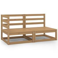 vidaXL 2-delige Loungeset massief grenenhout honingbruin