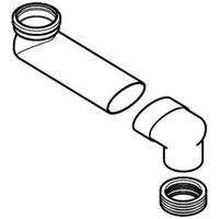 Geberit sprongbocht vloer naar inbouwreservoir, aansl. 90x110 mm, lengte 14,5-34,5 cm, hoogte 7 cm, grijs