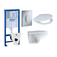 Adema Classic toiletset compleet met inbouwreservoir, zitting en bedieningsplaat mat chroom