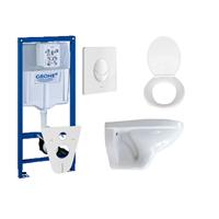 Adema Classic toiletset compleet met inbouwreservoir, softclose zitting en bedieningsplaat wit