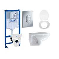 Adema Classic toiletset compleet met inbouwreservoir, softclose zitting en bedieningsplaat mat chroom