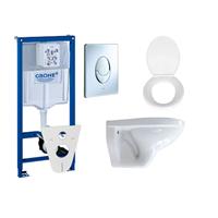 Adema Classic toiletset compleet met inbouwreservoir, softclose zitting en bedieningsplaat chroom