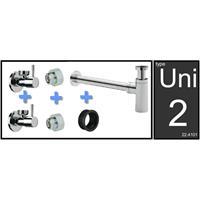 Wiesbaden Saniville Uni-2 luxe fontein/wastafel aansluitset + sifon chroom