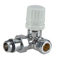 """Sub luxe therm ventiel M22 1/2"""" x 15 mm knel haaks links"""