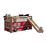vipack halfhoogslaper Pino met glijbaan en brandweerset - grenenhout