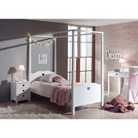 vipack hemelbed Amori met nachtkastje - wit