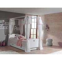 vipack hemelbed Amori met textiel en rolbed/opberglade - wit
