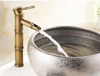saniclear Bamboo hoge wastafelkraan met waterval uitloop antiek brons