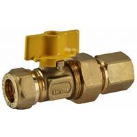 Sub gaskogelkranen 15mm knelx 1/2bin. gaskogelkranen 15 mm knelx 1/2bin.