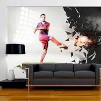 Fotobehang - Kracht van voetbal , multi kleur