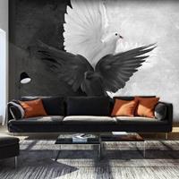 Fotobehang - Goed versus Kwaad, duiven , zwart wit