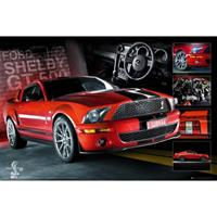 Poster rode Ford Mustang 61 x 91,5 cm