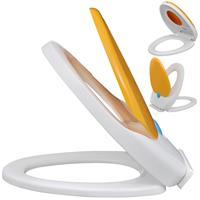 vidaXL Toiletbril soft-close volwassenen/kinderen wit & geel