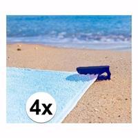 Strandlaken klemmen blauw 4 stuks Blauw
