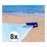 Strandlaken klemmen blauw 8 stuks Blauw