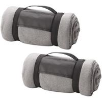 2x Fleece dekens/plaids grijs afneembaar handvat 160 x 130 cm Grijs