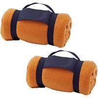 2x Fleece dekens/plaids oranje afneembaar handvat 160 x 130 cm Oranje