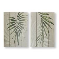 Art For the Home Print op Hout - Palmbladeren - 2x 40x50 cm