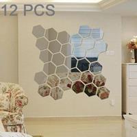 12 STKS 3D zeshoekige spiegel muurstickers set, maat: 8 * 8cm (zilver)