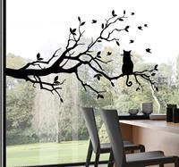 tenstickers Kat op boom zelfklevende raamsticker