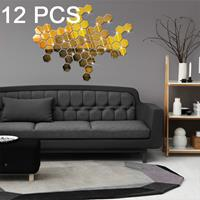 12 STKS 3D zeshoekige spiegel muurstickers set, maat: 4 * 4cm (goud)