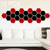 12 STKS 3D zeshoekige spiegel muurstickers set, maat: 8 * 8cm (zwart)