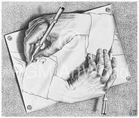 PGM M. C. Escher - Zeichnen Kunstdruk 65x55cm