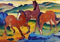 PGM Franz Marc - Die roten Pferde Kunstdruk 29.7x21cm