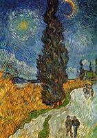 PGM Vincent Van Gogh - Landstrasse mit Zypresse und Stern Kunstdruk 21x29.7cm
