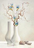 PGM Karin Van der Valk - Willow Twigs with Blue Flowers Kunstdruk 30x40cm