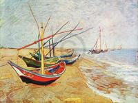 PGM Vincent Van Gogh - Barche sulla spiaggia Kunstdruk 80x60cm