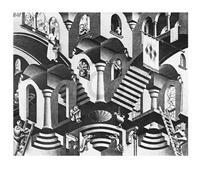 PGM M. C. Escher - Konkav und Konvexe Kunstdruk 65x55cm