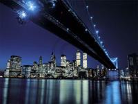 PGM Henri Silberman - Brooklyn Bridge at Night Kunstdruk 80x60cm