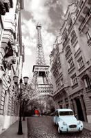 GBeye Paris Red Girl Blue Car Poster 61x91,5cm