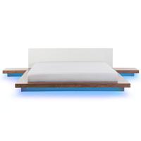 Beliani Bed bruin met LED-verlichting wit 180 x 200 cm ZEN