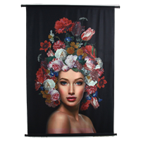 Wants&Needs Wanddoek Lady Flowers VelvetMulti 105 X 2.5 X 136