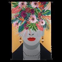 Wants&Needs Wanddoek Face Flowers VelvetMulti 105 X 2.5 X 136