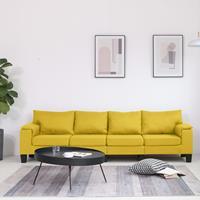 vidaXL Vierzitsbank stof geel