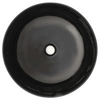 vidaXL Wastafel rond 41,5x13,5 cm keramiek zwart