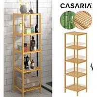 Casaria Staande badkamer/ woonkamer kast bamboe 140x33x33cm